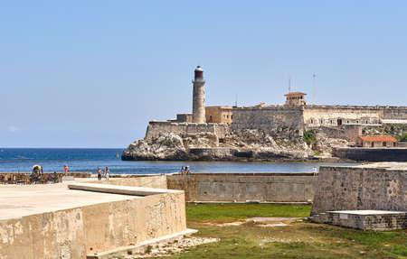 Lighthouse scenic view in Cuba. Faro Castillo del Morro is a lighthouse in Havana, Cuba
