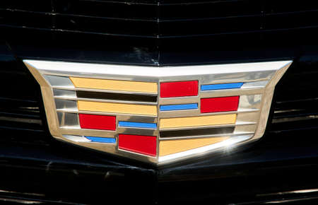 Montreal, Canada - April 4, 2020: Cadillac logo sign close-up. Cadillac is a division of American automobile manufacturer General Motors GM that designs and builds luxury vehicles.