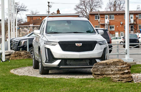 Montreal, Canada - May 2, 2020: New 2020 model of Cadillac XT6 400 car. Cadillac is a division of the American automobile manufacturer General Motors GM that designs and builds luxury vehicles