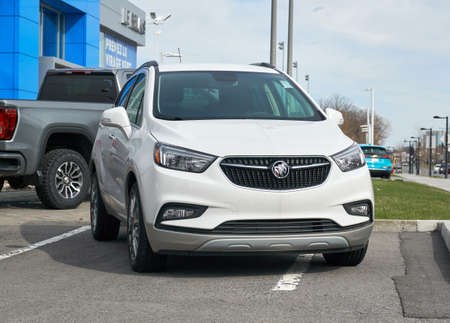 Montreal, Canada - May 2, 2020: Buick Encore 2020 car. Buick is a division of the American automobile manufacturer General Motors. Buick is positioned in between mainstream and luxury brands. Editorial