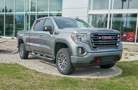 Montreal, Canada - May 2, 2020: GMC Canyon AT4 car. General Motors Truck Company, formally the GMC Division of General Motors LLC, is a division of the American automobile manufacturer General Motors