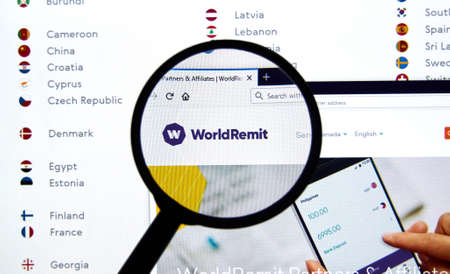 Montreal, Canada - May 2, 2020: Worldremit logo and web site. WorldRemit is an online money transfer service that provides international remittance services, it was founded in 2010