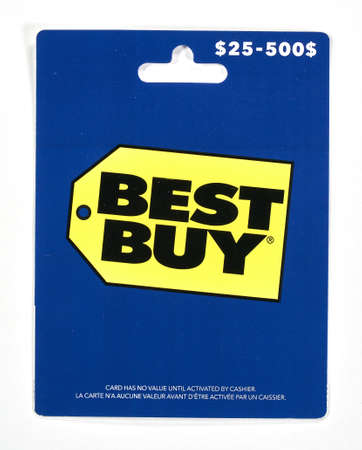 Montreal, Canada - April 6, 2020: Bestbuy gift card on a white background. Best Buy is an American multinational consumer electronics retailer headquartered in Richfield, Minnesota.
