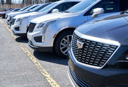 Montreal, Canada - April 4, 2020: Cadillac XT4 cars at dealership. Cadillac is a division of American automobile manufacturer General Motors GM that designs and builds luxury vehicles. Editorial
