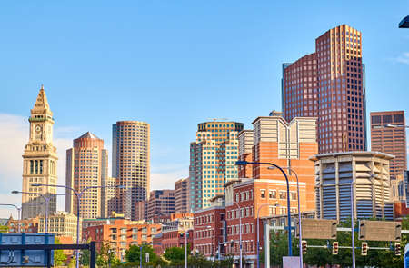 Nice view of Boston and blue skies in evening time. Boston is the capital and most populous city of the Commonwealth of Massachusetts in the United States