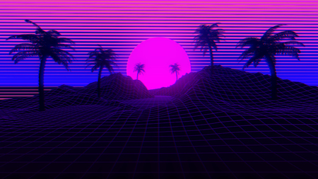 3D Background Illustration Inspired by 80s Scene, synthwave and retrowave music. Stock Photo