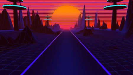 3D Hintergrund Illustration Inspiriert von der Szene der 80er, Synthwave und Retrowave Musik. Standard-Bild