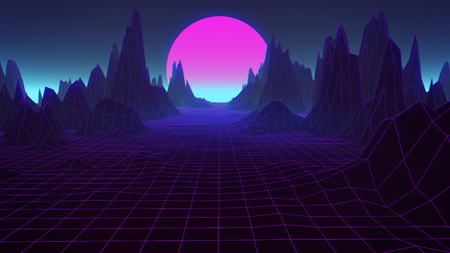 3D Background Illustration Inspired by 80s Scene, synthwave and retrowave music. Фото со стока