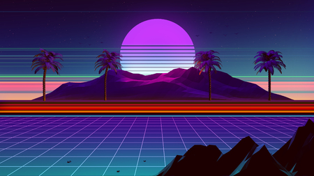 3D Background Illustration Inspired by 80's Scene, synthwave and retrowave music. Stock fotó - 95524263