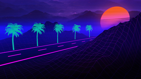 3D Background Illustration Inspired by 80s Scene, synthwave and retrowave music. Reklamní fotografie