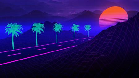 Ilustración de fondo 3D Inspirado en la escena de los 80, la música de onda sintetizada y retrowave.