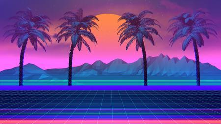 3D Hintergrund Illustration Inspiriert von der Szene der 80er, Synthwave und Retrowave Musik.