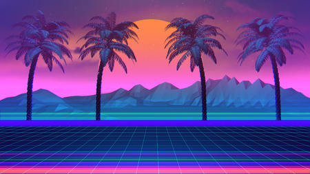 3D Background Illustration Inspired by 80's Scene, synthwave and retrowave music.