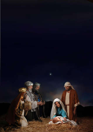 jesus born with maria jusuf and three wise man Archivio Fotografico