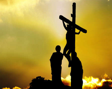 Silhouette Jesus Christ crucifixion on cross over Calvary - Good Friday Jesus death on crucifix