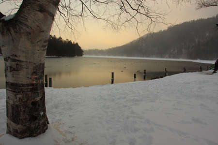 lake and snow photo