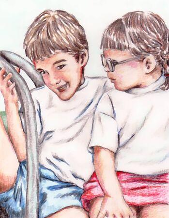 Two Kids Фото со стока - 1636945