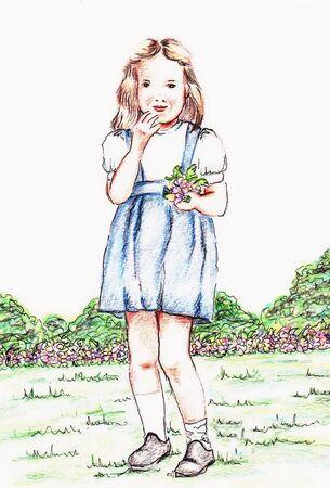 Girl Blue Dress Иллюстрация