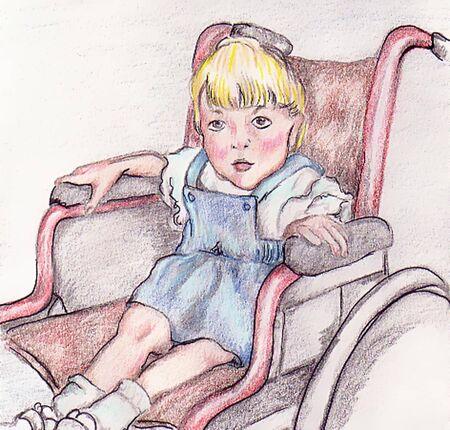 車椅子の女の子  イラスト・ベクター素材