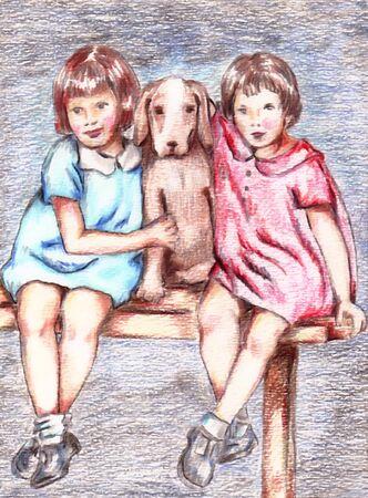 Girls With Dog Иллюстрация