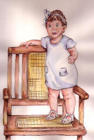 Girl on Chair Ilustracja