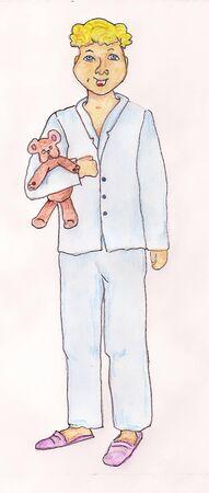 pjs: Boy With Teddy Bear