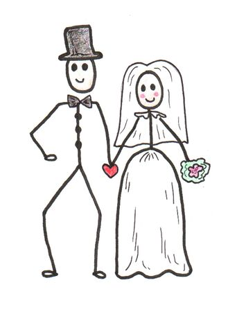 Stick Wedding Couple Иллюстрация