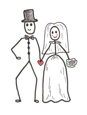engaged: Stick Wedding Couple Illustration