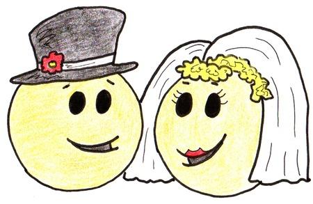 human face: Smiley Wedding Couple