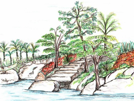 line drawings: Beach Scene