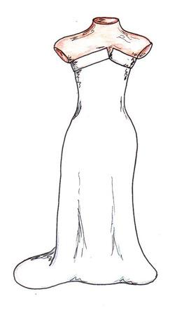 festive occasions: Wedding Dress Illustration