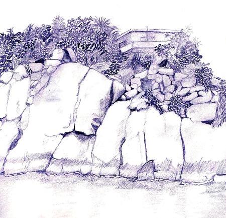 Pen en inkt landschap