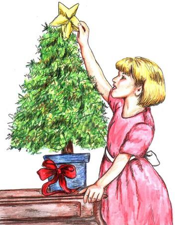 女の子を飾るクリスマス ツリー