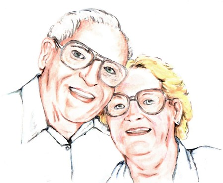 古いカップルの笑みを浮かべてください。