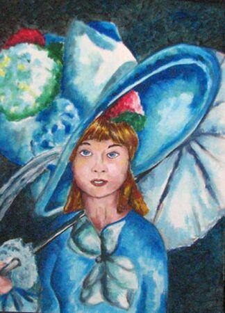 headwear: Girl in Blue Hat