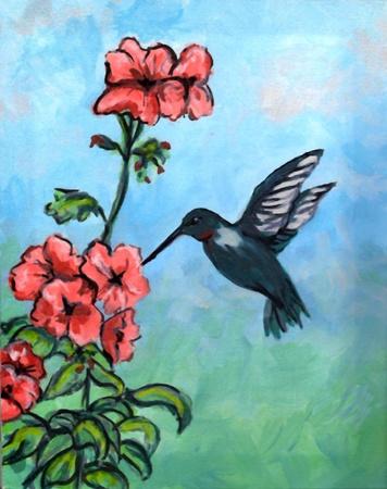 벌새와 꽃 일러스트