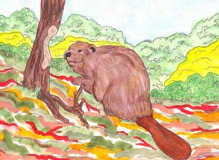 Beaver Cutting Tree