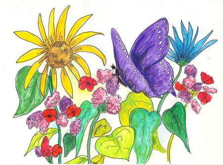 Vlinder en Bloemen Stock Illustratie