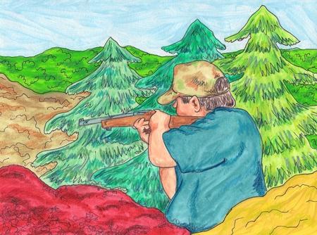 hunting rifle: Hunter Illustration