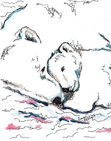 cuddling: Polar Bear Mother and Cub