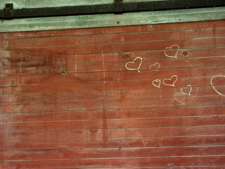 red barn: Hearts on Barn Wall Illustration