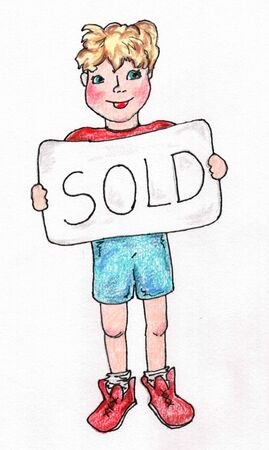 Boy with Sold Sign