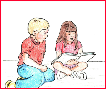 child sitting: School Kids Reading and learning