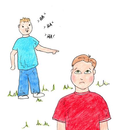 Bully verspotten Jungen lachen Standard-Bild - 23860559