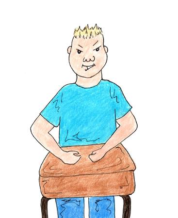 bully: intimidar a ni�o en la escuela en el aprendizaje escritorio Vectores
