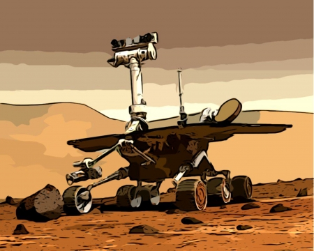 on the surface: Space Mars Rover bobotics exploration vehicle