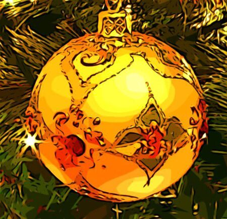 yule tide: Gold Christmas Tree Ornament Decoration