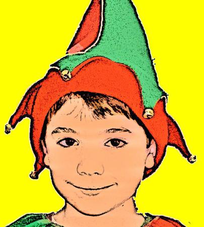Little Boy with Christmas Elf Hat with Jingle Bells Иллюстрация