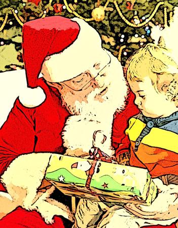Santa Claus Giving Present at Christmas under Christmas Tree Ilustracja