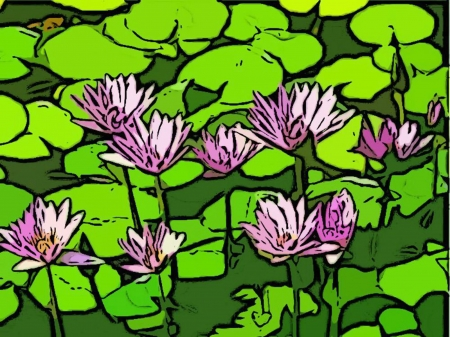 Colorful Purple Water Lillies Flowers Ilustracja